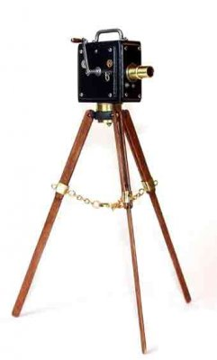 Camera, Silent Movie Camera on Tripod - Black