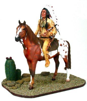Chief Crazy Wolf on horseback