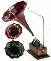 Phonograph with Painted Floral Design on Horn