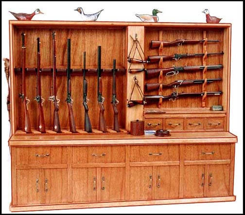 Rifle Display Rack with Rifles - Click Image to Close
